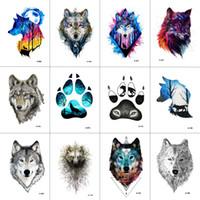 Wholesale Wolf Tattoo Stickers - WYUEN 12 PCS lot Wolf Temporary Tattoo Sticker for Women Men Fashion Body Art Adults Waterproof Hand Fake Tatoo 9.8X6cm W12-01