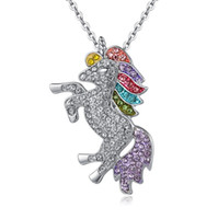 Wholesale china pendant for sale - Group buy 3 colors kids and women necklace colorful unicorn diamond pendant necklace children sweater chain jewellery accessories