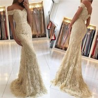 Wholesale Tulle Applique Button Prom Dress - 2018 New Champagne Sexy Off Shouler Mermaid Prom Dresses Lace Applique Floor Length Button Back Formal Evening Party Gowns Custom Made