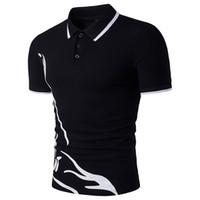 фирменные прохладные хлопковые рубашки оптовых- Men's  Shirt Lapel Short Sleeve Cotton Print  Shirts Male Cool Blouse Tops Business Slim Fit T Shirt B83