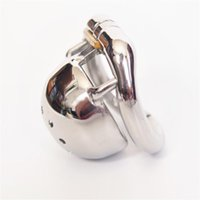 Wholesale chastity belt art male resale online - 2018 Latest Male Stainless Steel Cock Penis Cage Ring Chastity Belt Art Device BDSM Sex toys
