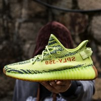 Wholesale Uv Test - SPLY 350 V2 Shoes Semi Frozen Gum Glow in Dark Yellow Zebra B37572 Beluga2.0 Triple White Pass UV light Test