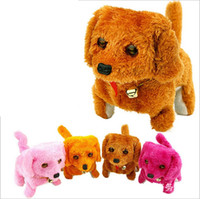 Wholesale battery operated toy dogs for sale - Group buy Electronic Dog Toy Fast Delivery New Battery Powered Steel Brown Yellow Pink Plush Walking Barking Electronic Dog Toy c514