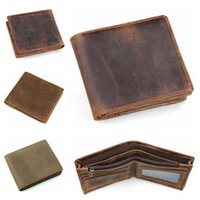 Wholesale Leather Bifold Money Clip Wallet - 3 Colors Men Crazy Horse Leather Retro Short Bifold Wallet Cowhide Coin Purse Card Holder Money Clips Slim Vintage Purse CCA8941 10pcs