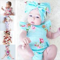 säuglingsmädchen stirnbänder großhandel-Mischen Sie 5 Farben Infant Baby Cotton Floral gedruckt Strampler Overalls mit Schmetterling Bogen Stirnbänder Neugeborenen Kleinkind Kinder 2pcs Body Mädchen Kleidung
