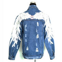 ingrosso giacca d'angelo delle ali-Nuove donne 2018 delle ali di angelo che ricoprono le labbra Giacca blu del denim delle donne Giacca di jeans di inverno per le donne Giacca di jeans Giacca di jeans