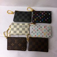 Wholesale nylon key pouch - High Quality Famous Classical Designer Key Pouch Damier Canvas Holds Women Key Holder Coin Purse Small Leer Wallet 7 Colors