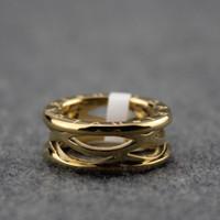 ingrosso impostazioni dell'oro giallo-Italy Women B Golden Hollow Logo Ring Marca Zero Ring Luxury Design Donna Feste nuziali Roma 1 Gioielli Lover