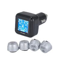 volvo lcd al por mayor-Smart Car TPMS Sistema de control de la presión de los neumáticos encendedor de cigarrillos Pantalla LCD digital Auto Seguridad Sistemas de alarma