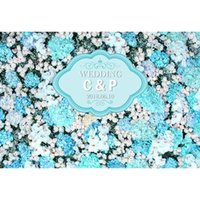 Wholesale background for digital photography resale online - Digital Printed White Pink Blue Flowers Wall Backdrop for Photography Customized Name Date Wedding Party Photo Booth Background