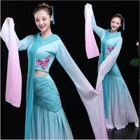 karneval tanz tragen großhandel-New National Dance Kleidung chinesischen alten Stil Bankett Bühnenkleidung Langarm Oriental Dance Kostüme Frauen Karneval Tanzkostüm