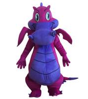 ingrosso costumi della mascotte di grandi dimensioni-2018 Fabbrica vendita hot Big Purple Dragon Mascot Costume Fancy Dress Adult Size