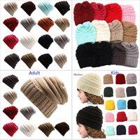 Wholesale wholesale sport beanie hats online - New CC Beanies Cap For Parents Kids Winter Warm Knit Hooded Skull Hats Caps Hip Hop Sports Casual Caps Xmas Hats DHL Ship colors HH7