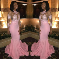 Wholesale hot party african dresses for sale - Group buy 2020 Hot Sell Sheer Long Sleeves Prom Dresses African Blacks High Neck Sheer Appliqued Pink Evening Gowns Illusion Bodice Party Wears BC0228