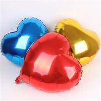 doğum günü kalp balonları toptan satış-Kalp Şekli Folyo Balonlar 10 inç Doğum Günü Partisi Süslemeleri Balon Aşk sevgililer Günü Hediye için Alüminyum Balonlar 50 adet