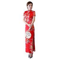 ingrosso più abiti cheongsam di formato-Red cinese sposa sposa Qipao Vintage mandarino collare Cheongsam Plus Size floreale Split Sexy Prom Party Dress 3XL 4XL