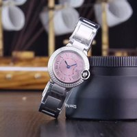 Wholesale lady small watch - Hot sale top quality fashion women's watch small pink 28mm dial diamonds case stainless steel ladies watches quartz watch