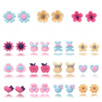 Wholesale candy jewelry for kids - 16 Pairs Summer Cute Flower Earrings Set Gifts Candy Colored Children's Stud Earrings for Kids Girls Jewelry Support FBA Drop Shipping H316R