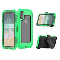 Wholesale iphone phone belt clips - Shockproof Belt Clip Kickstand Case 3 in 1 Defender Phone Cover For iPhone X 6 7 plus OPP Aicoo
