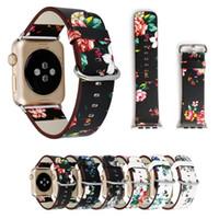 leder uhrenband blume großhandel-Für apple watch strap bands echtes echtes leder blume riemen band 38 / 42mm armbänder mit adapter