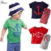 Wholesale Cartoon Children Vest - 2018 Summer 2pcs Toddler Baby Boys Tracksuits Children Cartoon Sports Suits Kids Sleeveless Vest + Striped shorts Clothes Outfit