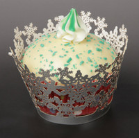 laser cut christmas 2018 - 10pcs Christmas Snowflake Design Lace Laser Cut Cupcake Wrapper Liner Baking Cup Muffin Molds Decal For Birthday Wedding Party