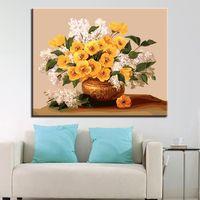 ingrosso pittura a olio di arte a parete fiori bianchi-Dipinto ad olio fai da te con i numeri Kit da colorare Dipinto a mano fiori gialli con fiori bianchi Immagini su tela Home Decor Wall Art