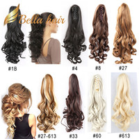 saç uzatmaları renk 27 toptan satış-Pençe at kuyruğu saç uzatma Bella saç ® Remy sentetik el yapımı klip vücut dalga 20inch renk # 1b # 4 # 6 # 8 # 10 # 16 # 27 # 30 # 33 # 60 # 613 # 99J # 27/613