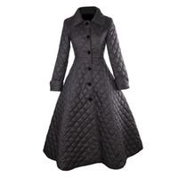 siyah artı boyutu trençkot toptan satış-30- kadın eski 50s audrey hepburn siyah kapitone uzun salıncak kat artı boyutu 4xl trençkot abrigos mujer casaco