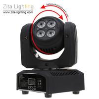 ingrosso zoom fascio-4 Pz / lotto Zita Lighting Moving Head Light LED Mini Stage doppio lato Zoom Beam Wash Lighting DMX512 Infinite Rotating Disco DJ Wedding Effect