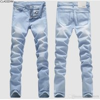 Wholesale Popular Men S Jeans - Men's summer hole light-colored cotton slim jeans male full Length straight Denim trousers Youth popular style Size 28-36