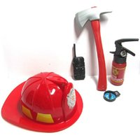 Wholesale brave cosplay online - 1 Set Pretend Play Toys For Children Brave Fireman Cosplay Games Educational Toy Include Hat Axe Fire Extinguisher Tool Toys