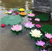 künstliche blumen wasserlilien großhandel-10 STÜCK Künstliche Lotus Seerose Schwimmende Blumenteich Tank Pflanze Ornament 10 cm Hausgarten Teich Dekoration