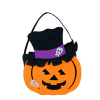Wholesale halloween pumpkin bucket - Halloween DIY Pumpkin Candy Bag Tote Bucket Basket Halloween Decoration Ornament Props Party Festival Children Gift Bags