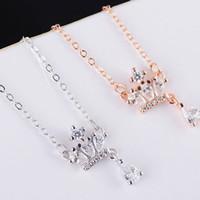 Wholesale Simple Short Necklace Pendant - Simple Fashion Short Clavicle Chain Silver Necklace Crown Diamond Pendant Silver Short Clavicle chain