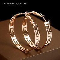 Wholesale rose gold earrings hoops - Rose Gold Color Brand Design Round Shape Timeless Styling Exquisite Lady Hoop Earrings