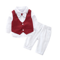 Wholesale boys waistcoat outfit for sale - Group buy Vieeoease Boys Sets Christmas Baby Clothing Autumn Long Sleeve Bow T shirt Waistcoat Pants Children Outfits EE