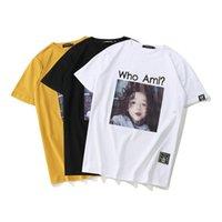 hip hop şortlu gömlek kızları toptan satış-Pamuk Erkekler T-shirt Hip-Hop Gevşek Yüksek Sokak Orijinal Kız Baskı Büyük Yaz Kısa kollu Artı Boyutu Bluz Gömlek