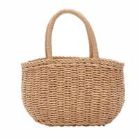 bolso de paja de playa con cordón al por mayor-Newly Straw Bucket Basket Bag Mujeres Hot Summer con cordón Tote Lady Zipper Handbag Small Sweet Korean Bolso de playa hecha punto de la rota