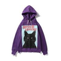ingrosso casa di gatto nero-SOSHIRL Beach House Lettera Felpa con cappuccio Hip-hop Allentato Streetwear Punk Black Cat Divertente Felpa Harajuku Casual Marca Coppia Pullover