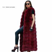 Wholesale Brown Fur Vest Women Sleeveless - 10steps 120cm Super Long Fur Vest Winter Women Luxury Faux Fox Fur Vest Furry Slim Woman Fake Plus Size Faux wj1342