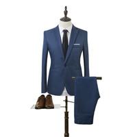 novo design do botão venda por atacado-2018 Novo Design Mens vestido de casamento paletó e calças terno para homens Slim Fit Mens coreano ternos cor sólida