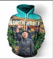 korea hoodie männer großhandel-Neue Mode Hip Hop 3d Hoodies Nordkorea Kim Jong Un Frauen / Männer Hoody Langarm Mit Kapuze Sweatshirts LMS0068
