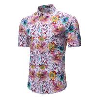 vestido de lentejuelas blanco ajustado al por mayor-Camisa hawaiana para hombre camisa casual masculina impresa playa camisas manga corta marca ropa asiática tamaño 3XL