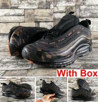 camo zapatos para correr al por mayor-97 QS Country Camo OG Tripel Blanco Metalizado Oro Plata Bullet WHITE 3M Premium Zapatos para correr con caja Hombre Mujer Envío gratis
