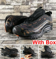 Wholesale free country - 97 QS Country Camo OG Tripel White Metallic Gold Silver Bullet WHITE 3M Premium Running Shoes with Box Men Women Free shipping