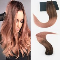 Wholesale hair fades online - 14 quot gram Color Dark Browm Fading to Color Rose Gold Brazilian Remy Hair Extensions Full Set Cilp On Hair Extensions