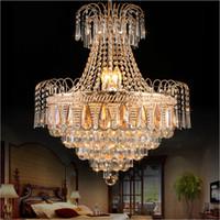 lâmpadas império venda por atacado-Império Francês lustre De Ouro iluminação de cristal lâmpadas lustre Sala de jantar Quarto Moderna lâmpada de cristal Da Lâmpada de Teto