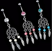 Wholesale Dream Belly - 2018 Fashion White Crystal Surgical Steel Navel Piercing Nombril Dream Catcher Belly Button Rings Women Belly Button Piercing