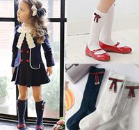 meias de princesa para meninas venda por atacado-Meias meninas moda infantil listras Arcos applique princesa meias crianças torção tricô joelho meias altas crianças meias de algodão pernas Y4294